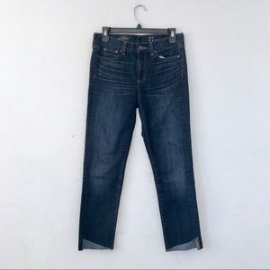 J.Crew Mid Rise Toothpick Jeans Ankle Raw Hem